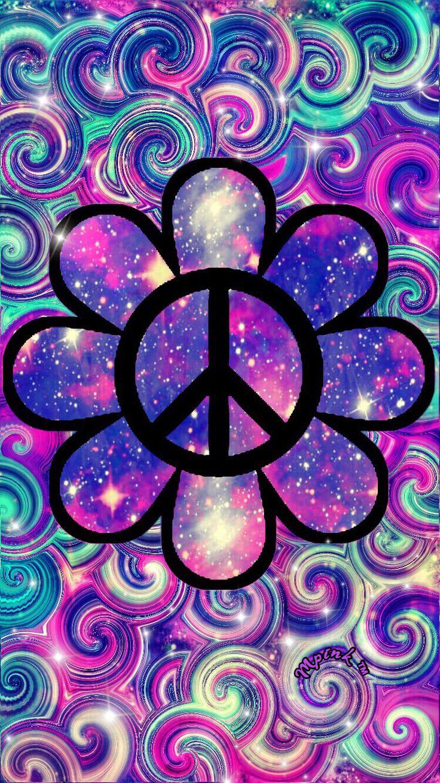 Hipster Swirl Peace Flower Galaxy Wallpaper #androidwallpaper #iphonewallpaper #wallpaper #pattern #swirls #peace #flowers #cute #girly #glitter #purple