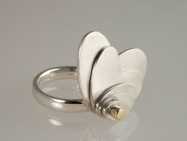"""Genevieve Broughton - """"Moving Petals"""" FlourishRing in silver and 9ct gold £304"""