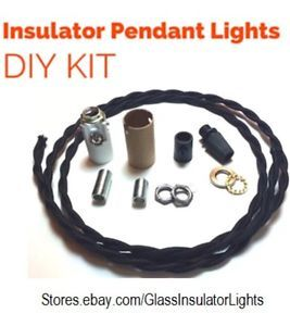 Image is loading Glass-Insulator-Pendant-Light-Kit-DIY-Insulator-Lighting-