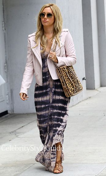 Seen on Celebrity Style Guide: 'A Many Splintered Thing' actress #AshleyTisdale wore this tie dye maxi dress as she stops by an office building in Beverly Hills, California on April 18...  Get it Here: http://rstyle.me/n/gsa8zmxbn