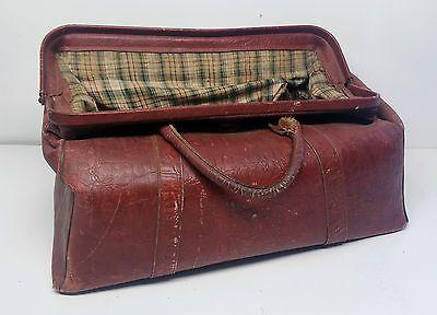 Vintage Leather Hide Gladstone Style Doctors | Medical Bag | Stage / TV Prop