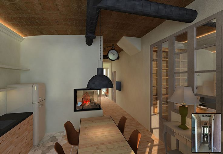 Sustainable Apartment Restoration by The Old Green Corner | Restoration of an old industrial apartment using responsible materials and techniques. Here we see the kitchen connected to the studio by glass windows and and the rear to the living room with a double sided fireplace.