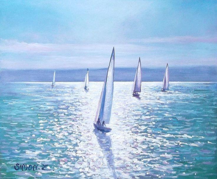 Simon Zoltán - Sails into the light  Oil, 25x30 cm.
