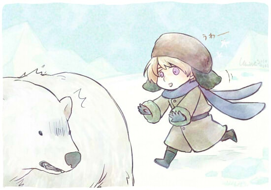Hetalia - Russia ~ An estimated 2,000 polar bears live in Russia's remote Chukotka region. The Soviet Union banned the practice of polar bear hunting in 1957.