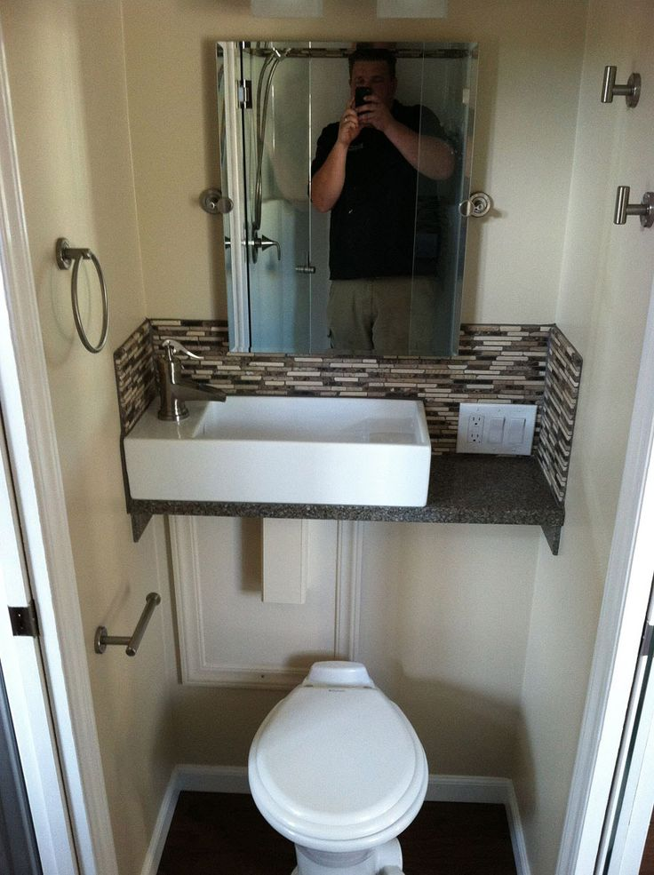 Bathroom Idea Sink Over Toilet For Space Saving Sq. Dakota Tiny House:  Built Like A House, Works Like An RV Photo Part 59