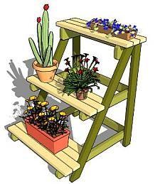 Rek voor plantjes op weinig vloeroppervlak.