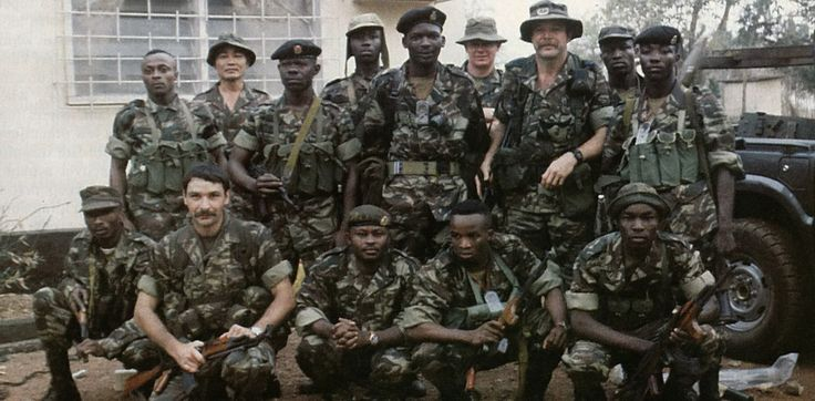 German and South African advisers (employed by Executive Outcomes) with their Sierra Leone Army comrades during the Sierra Leone Civil War, 1991.