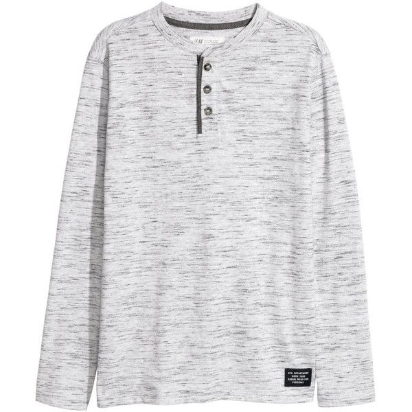 Henley Shirt $14.99 ($15) ❤ liked on Polyvore featuring tops, grey long sleeve top, long-sleeve henley shirts, grey top, henley shirts and henley tops