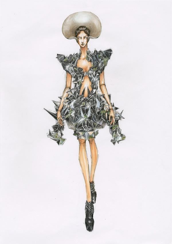 Iris van Herpen S/S 2013 Haute Couture Illustration.Files: Alexander McQueen & Iris van Herpen by Samuel Xun | Draw A Dot.