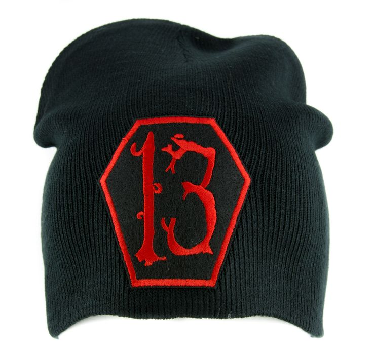 Red Coffin Number 13 Thirteen Beanie Knit Cap Alternative Gothic Clothing