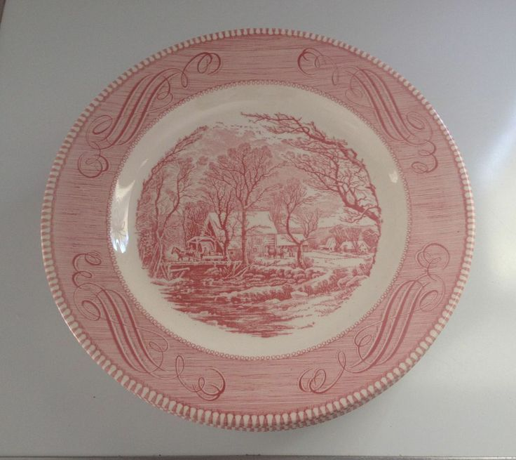 8 Vintage Royal China Pink Ironstone Dinner Plates Currier