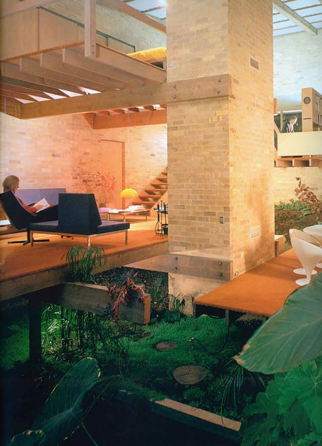Specifically, the beam connection to the brick column/tower and the cantilevered joists. Featherston House in Melbourne, Robin Boyd.