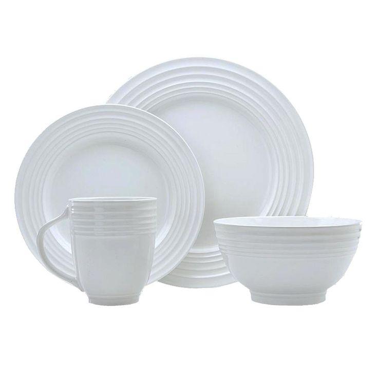 Stylush 16-Piece White Dinnerware Set