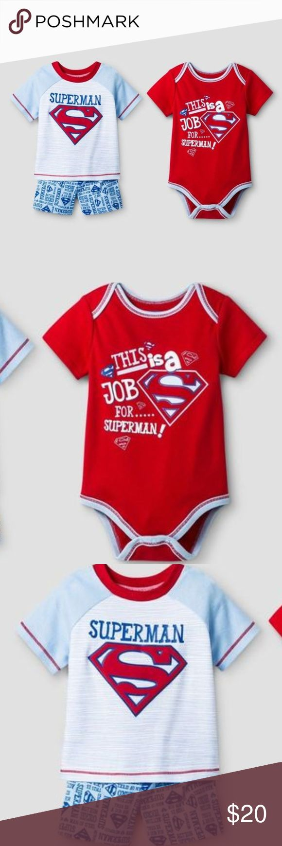 New WARNER BROS. Baby Boys 3 PC Superman Short Set This Warner Bros. Baby Boys' 3-Piece Superman Shorts Set in Red is just the thing your little super hero needs. This set includes a short sleeve bodysuit, short sleeve tee shirt and coordinating shorts.   available in size NB | 0-3M condition: new without tags  @cjrose25 Warner's Matching Sets