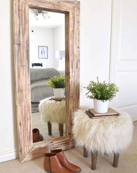 Full Length Mirror Wall Mirror Floor Rustic Mirror Corner Floor Mirror Living Room Corner Decor Living Room Mirrors