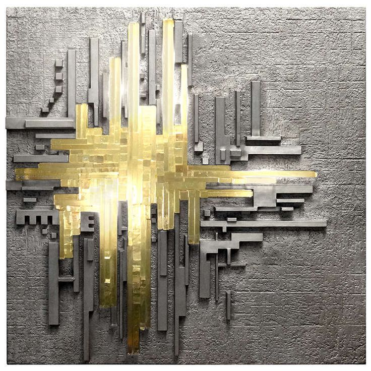 Cast Aluminum and Glass Illuminated Wall Sculpture by Poliarte | From a unique collection of antique and modern sculptures at https://www.1stdibs.com/furniture/decorative-objects/sculptures/