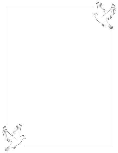 A dove page border. Free downloads at http://pageborders.org/download/dove-border/