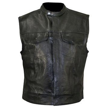 Xelement XS1937 Mens Black Leather Motorcycle Vest
