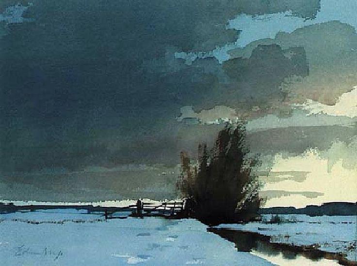 Edward Seago (1910 - 1974, UK) A Marsh Dyke, Winter. watercolour (26.7 х 36.8 cm.) #watercolor jd