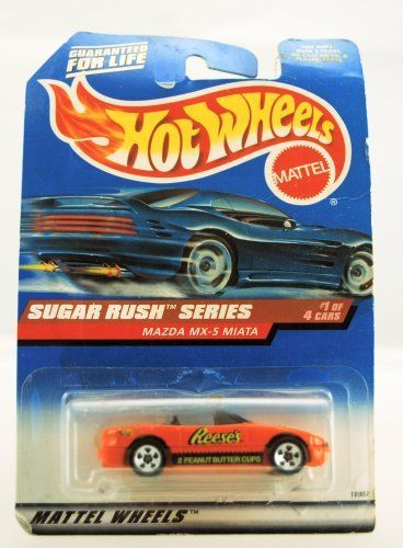 Hot Wheels - 1998 Sugar Rush Series - Mazda MX-5 Miata - Reese's Peanut Butter Cups Paint - 1 of 4 - Die Cast - Limited Edition - Collectible by Mattel. $9.99. Mazda MX-5 Miata - Reese's Peanut Butter Cups Paint Job. Limited Edition. Sugar Rush Series. Hot Wheels. Collector #741. Hot Wheels - 1998 Sugar Rush Series - 1 of 4 Cars - Mazda MX-5 Miata - Reese's Peanut Butter Cups Paint Scheme - Die Cast - Card is curled - Limited Edition - Collectible