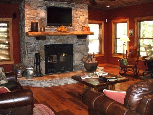 Stacked Stone Wood Burning Fireplace - Nantahala River Lodge - Awesome Riverfront Cabin -  - rentals
