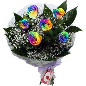 Ramo Multicolor de 6 Rosas Arcoíris para mandar a domicilio
