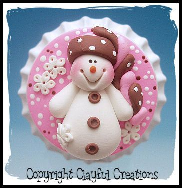 Becky's Polymer Clay - Snowman in Pink and Brown Funky Hat BOTTLE CAP