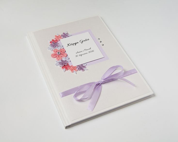 Unique Handmade Wedding Guest Book Quilled Paper Flowers Pink Lilac Delicate Cute Personalized Wedding Guestbook Sign In Book Wedding Keepsake Etsy by PaperParadisePL