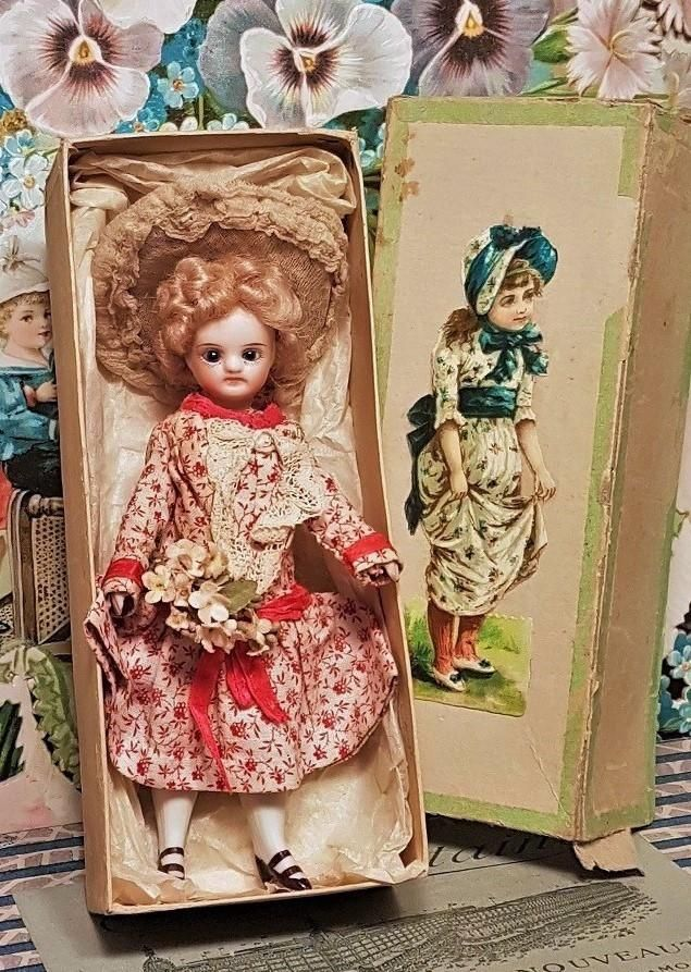 ~~~ Antique French all Bisque Mignonette in Original Dress and Box ~~~ from whendreamscometrue on Ruby Lane