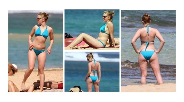 This is Scarlett Johansson at a beach in Hawaii. She isn't totally skinny, she only has a thigh gap if she stands with her legs apart and she has cellulite and stretch marks on her thighs and butt. Does she care? No! She's absolutely gorgeous. There's nothing wrong with cellulite, or stretch marks, or not having a perfectly flat stomach. She is somebody who is still incredibly beautiful and doesn't care about her stretch marks. The same should go for YOU! Don't worry, be happy, and healthy!