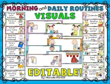 This package contains a visual daily routine and morning routine strips that will enable you to create a visual display or visual schedule of your classroom routines.  I have left these tools EDITABLE but have made suggestions in the text box of each one.