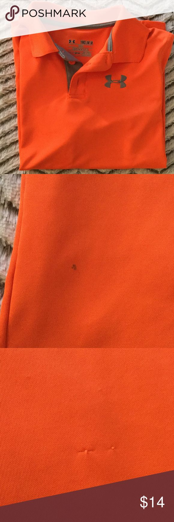 Neon Orange Under Armou Boys heatgear Polo Neon orange boys Under Armour heatgear Polo with gray branding. Has small pen mark and a few pulls as shown in picture, but still a. Dry sharp looking shirt for your little man. This material dries quick, is soft and light weight and doesn't wrinkle. Under Armour Shirts & Tops Polos