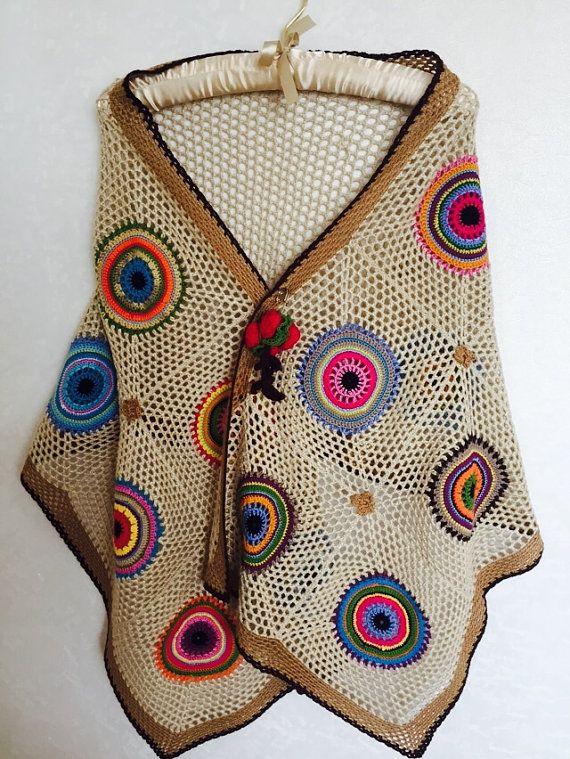 Crochet Shawl Boho Gypsy Shawl Hippie Patchwork by fyboutique