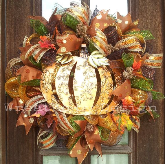 Fall Metal Pumpkin mesh Wreath by WreathsbyDesign1 on Etsy, $80.00