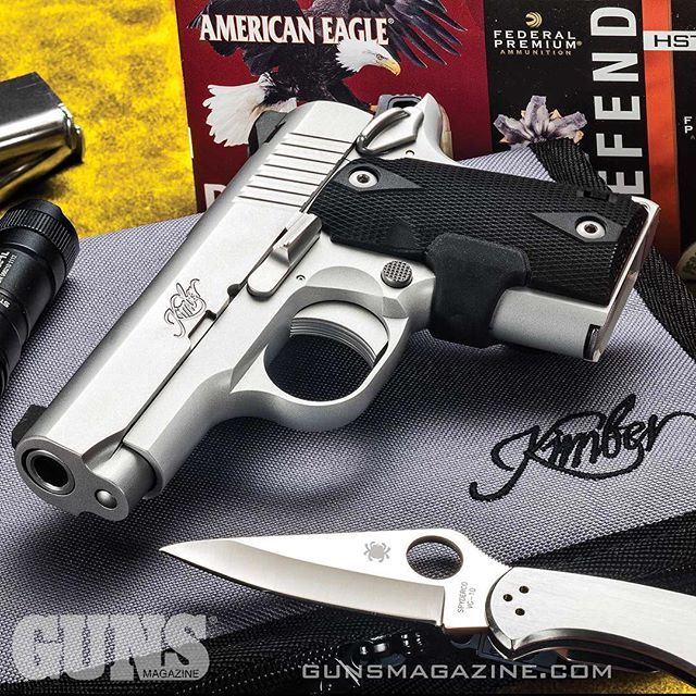 "A Micro 9 for midweek emergencies. Kimber's ""Mini-1911"" is built for close-quarter self-defense spitting +P 9mm from a .380-size platform. More from GUNS Magazine February 2017 issue by following our profile link. ---------- #gunsmagazine #kimberamerica #"