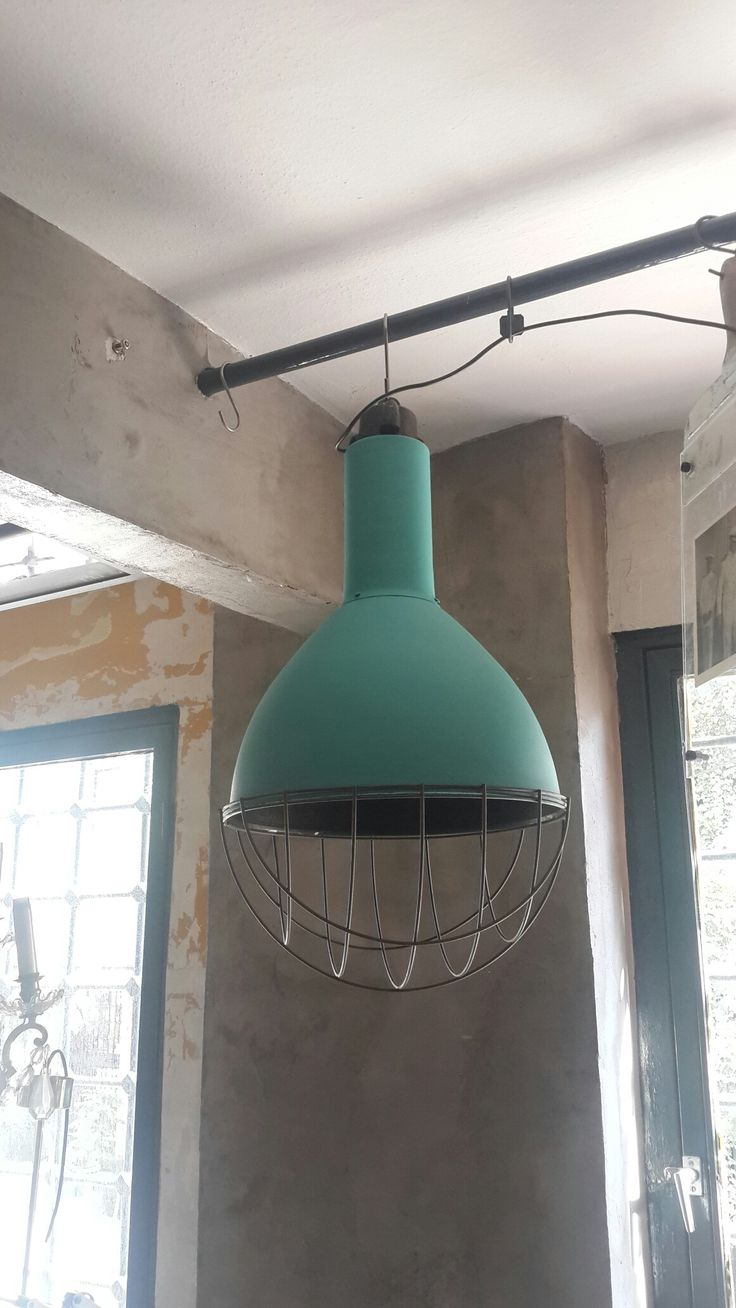 Painted Industrial Pendant Lamp w/ cage