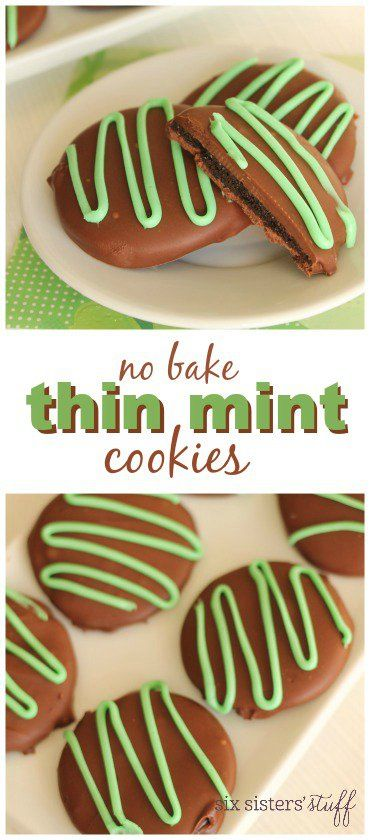 No Bake Thin Mint Cookies on SixSistersStuff.com   These no bake cookies are so easy to make and taste just like girl scout thin mint cookies! In fact, I think they taste even better!