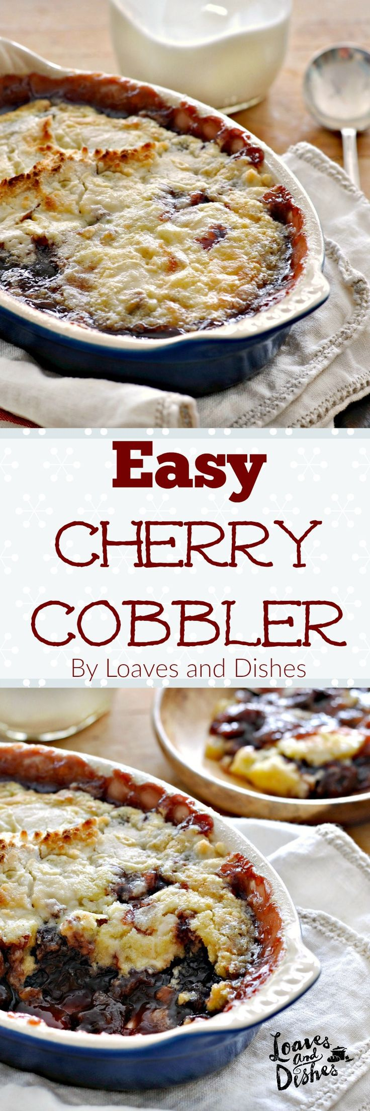 This recipe for Easy Cherry Cobbler is 3 steps and 4 ingredients. Couldn't be more simple. Similar to a Cherry Dump Cake or Cherry Yum Yum. Classic taste. Classic recipe. Prepare in minutes. Easy.