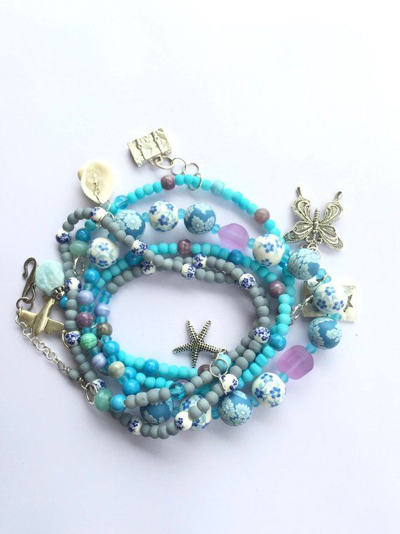 Blue Wrap Bracelet Charm Safe Travels Etsy Shares Pinterest Bracelets And Beach