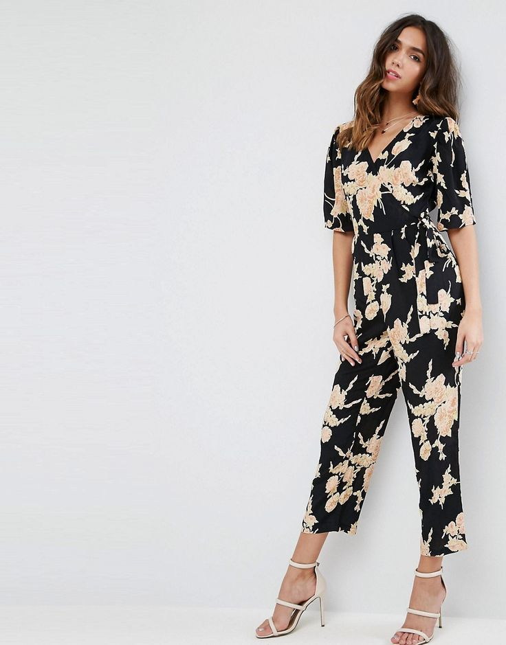 Get this Asos's long jumpsuit now! Click for more details. Worldwide  shipping. ASOS Jumpsuit with Wrap Front in Floral Print - Multi: Jumpsuit  by ASOS ...