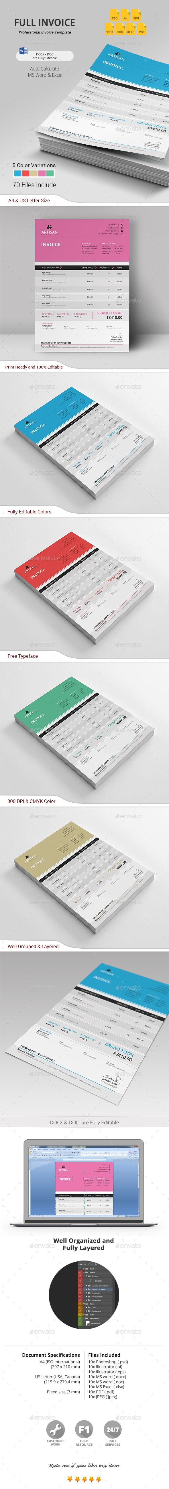 Invoice Template PSD, Vector EPS, AI Illustrator, MS Word