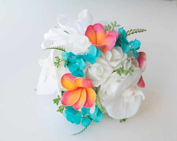 Turquoise Coral Wedding Flower Girl Pomander Ball by Wedideas
