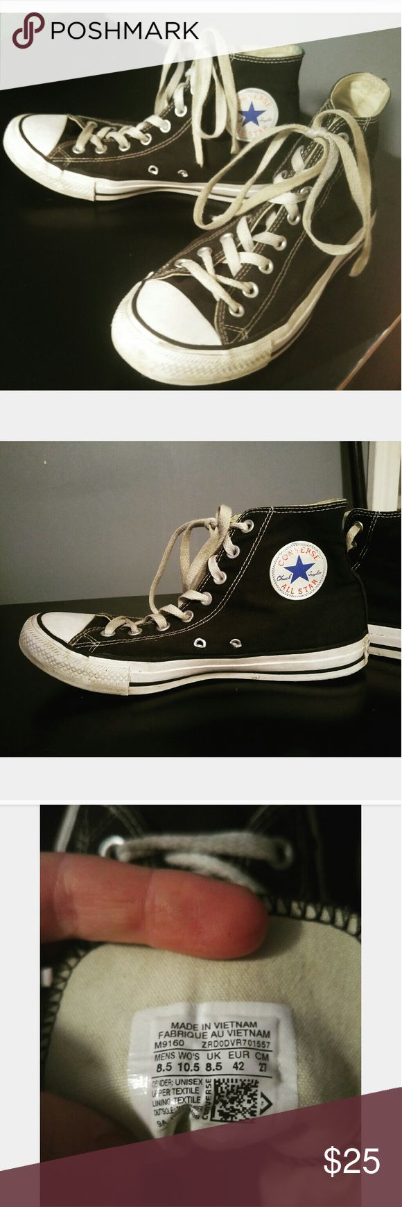 Black Hightop Converse Sneakers Black hightop sneakers by Converse.  Worn will alot of life still in them.  With new white laces and and a good wipe down, these babies will clean up nice!  No rips or tears!  Mens 8.5 or ladies 10.5 Converse Shoes Sneakers