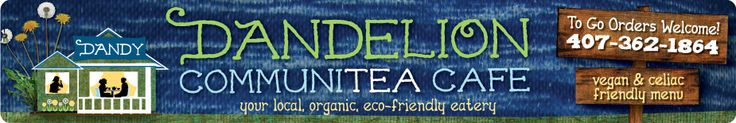 Dandelion Communitea Cafe. local, organic, vegetarian & celiac friendly. Every item on the menu can be made to be vegan. Happy hour specials available between 4-7. Very cute and homey decor! Winter Park area.