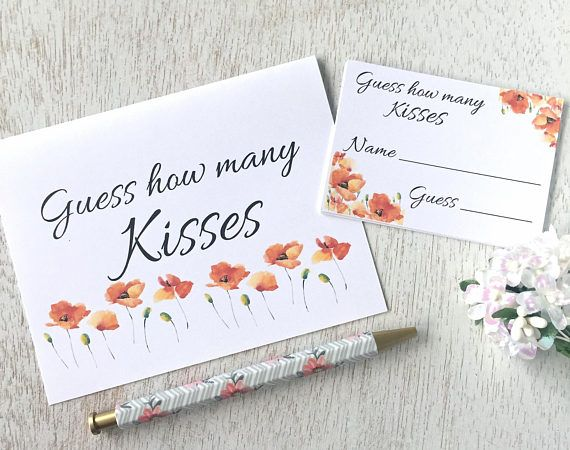 How many kisses game bridal shower game baby shower game