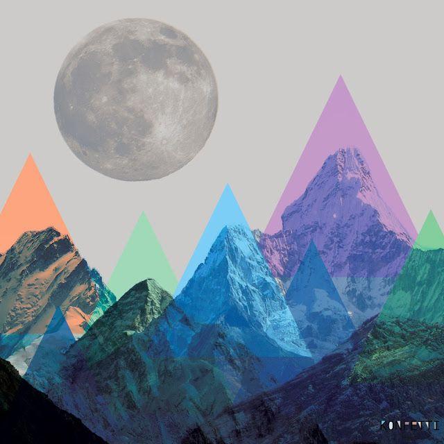 mountain meets moon collage by ninotschka www.konfettiregen.com