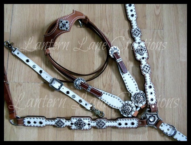 Custom white croc tack set  Jet (black) and crystal (clear) swarovski crystals  matching wither strap