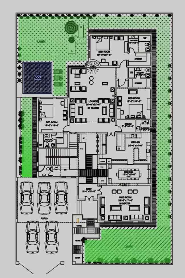House Floor Plan By 360 Design Estate 2 Kanal House Floor Plans Floor Plan Drawing Model House Plan