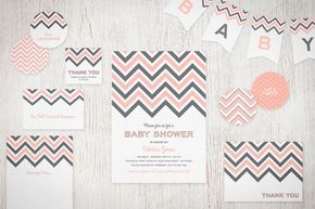 We just added party circles and text banners to our Printable Chevron Invitation Suite!