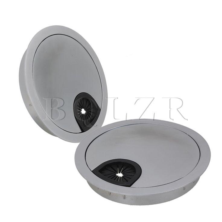 BQLZR 2pcs Zinc Alloy Desk Wire Grommet Cable Hole Roubd Cover 80mm Hole Dia Silver